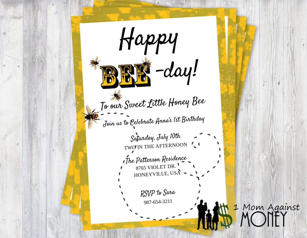 Happy Bee Day Party Invite-Free Editable