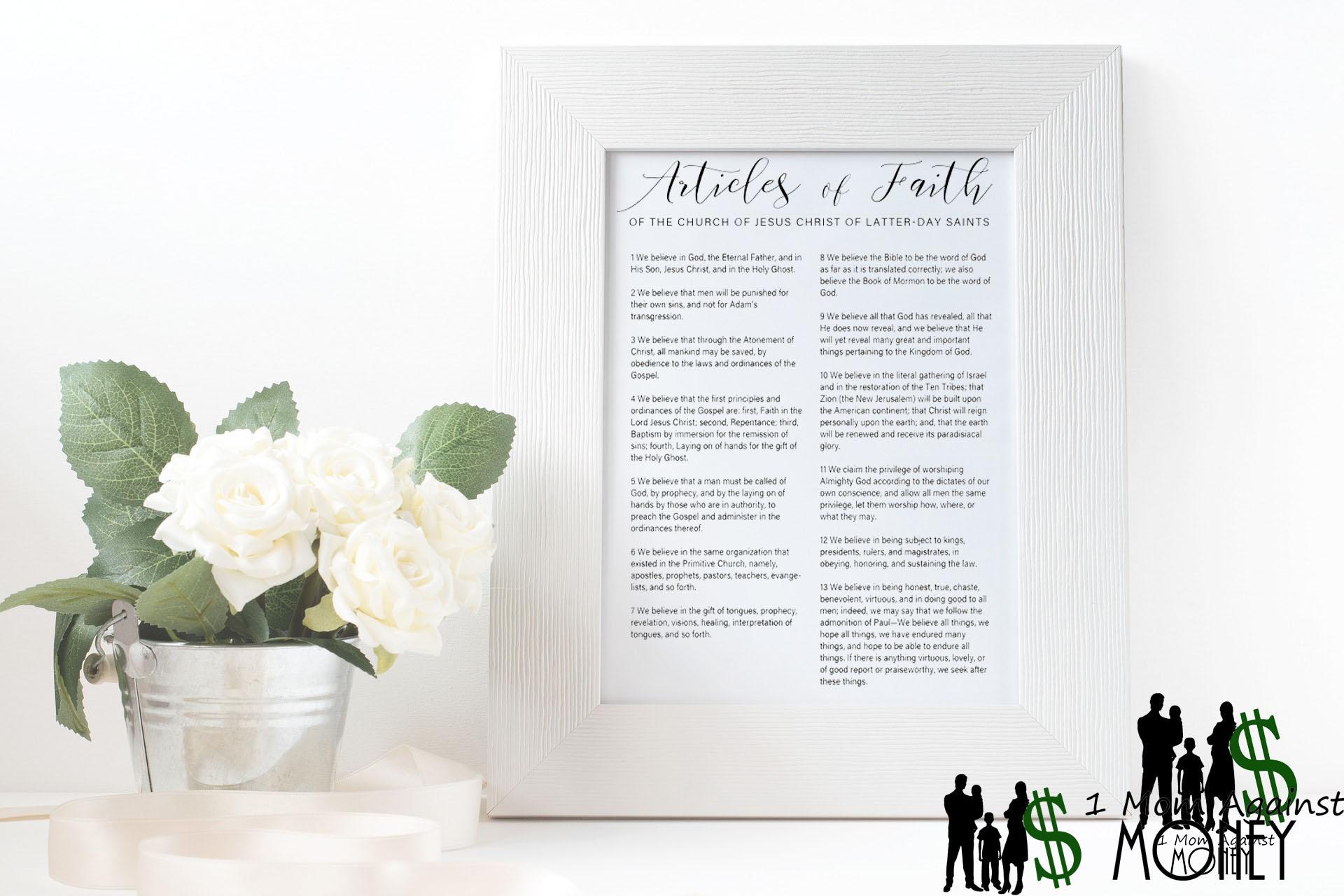 Articles of Faith Script Style Print Wall Art